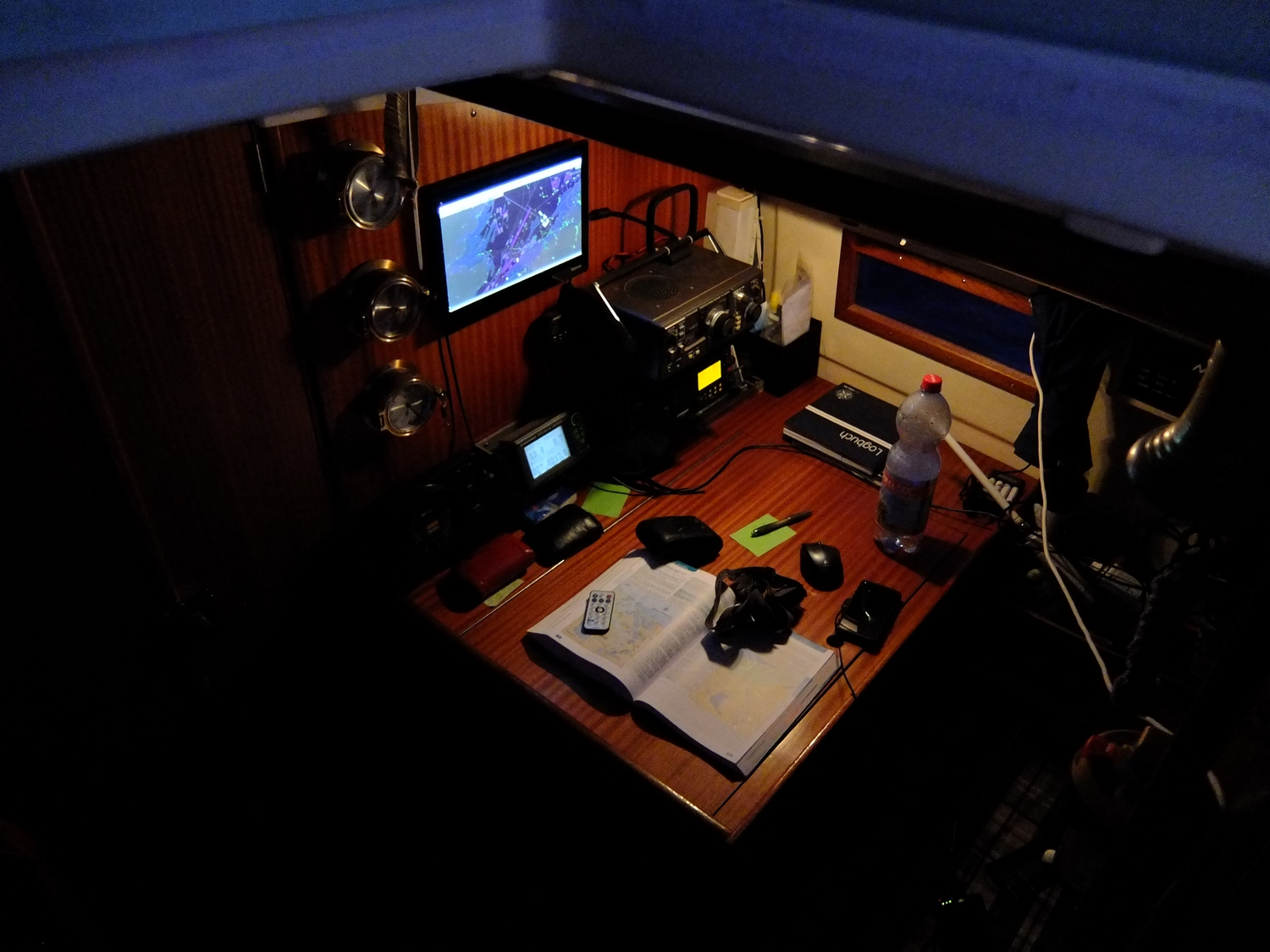 Our navigation table at night