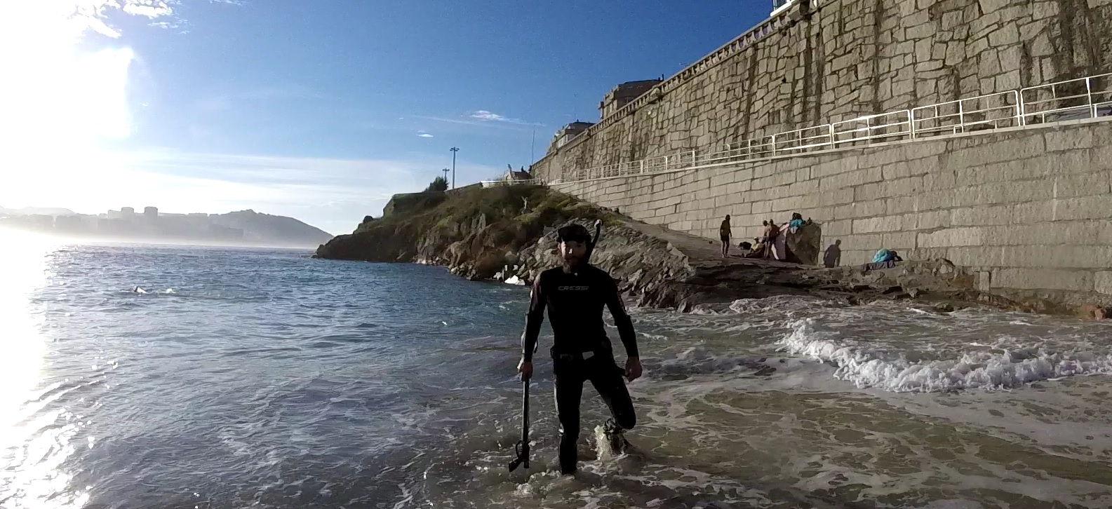 Snorkeling on the big beach in A Coruña