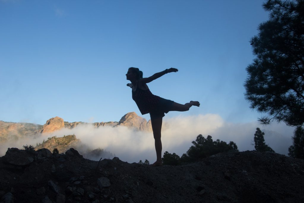 Teresa above the clouds of Gran Canaria