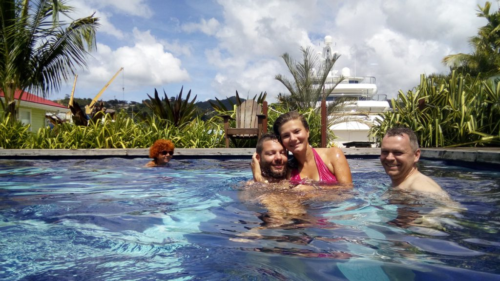 Enjoying the Port Louis marina pool. The funny woman in the back is not part of the crew ;)