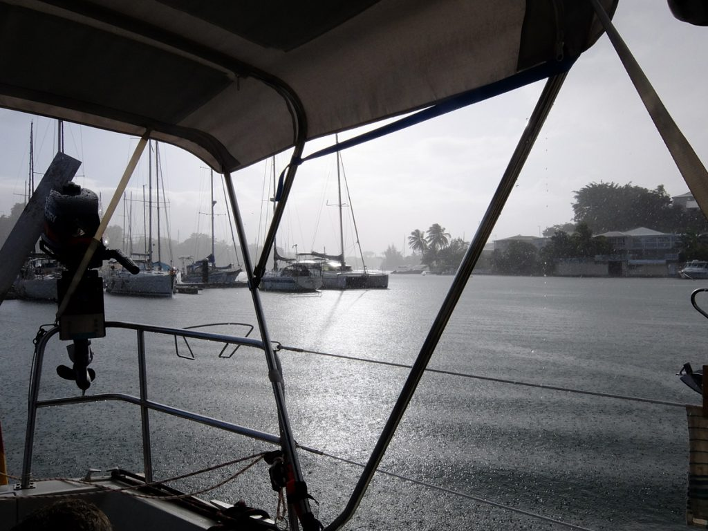 There's not only sun in the Carib, rainfall in the Pointe-a-Pitre marina on Guadeloupe