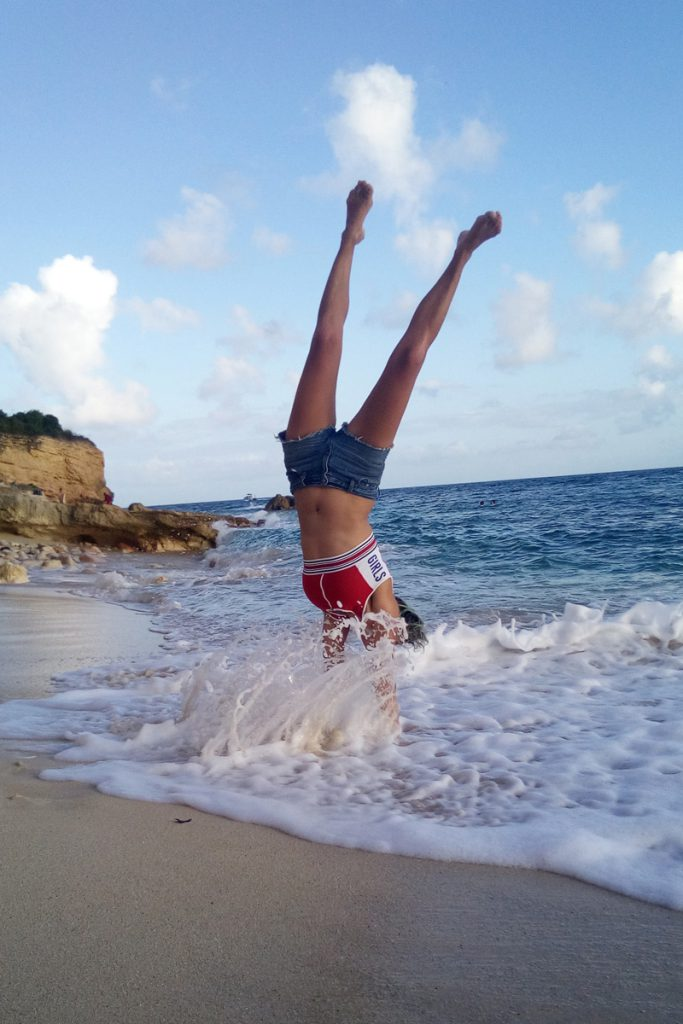 Cupecoy beach handstand