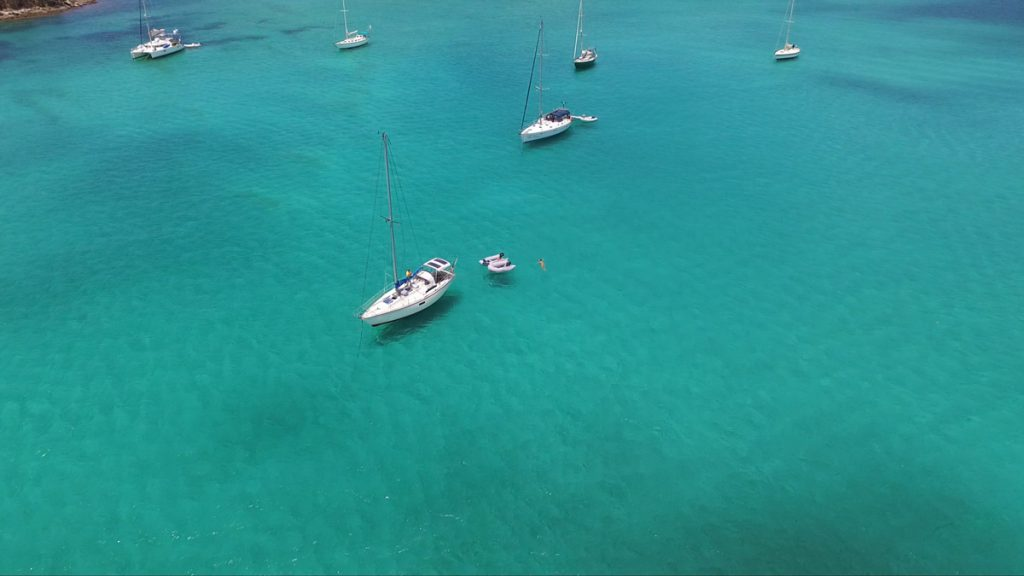 Mila in Marigot bay, thanks to our friend Bryan for taking some drone shots!